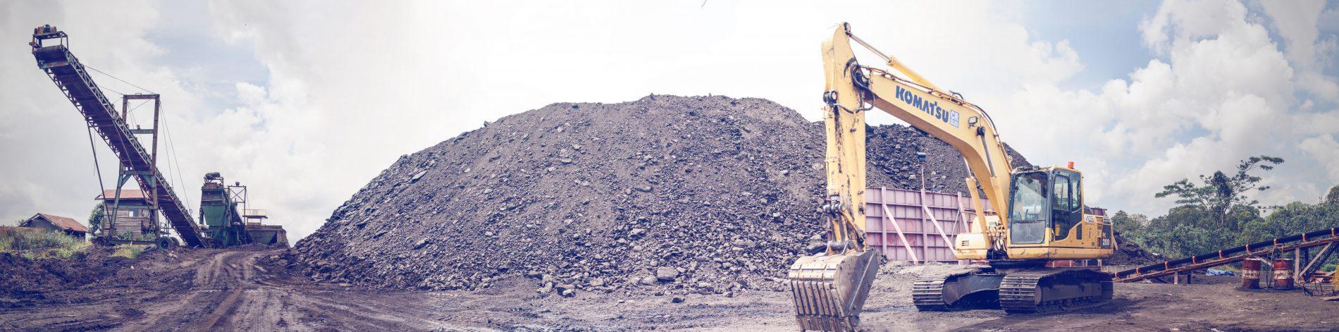 komat'su excavator and conveyor belt